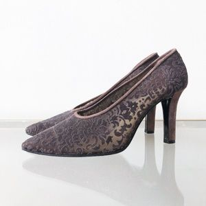 YSL Burnout Lace Brown Pumps Heels 10